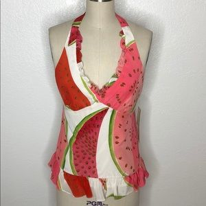 NEW Nannette Lepore watermelon pinup silk top 8